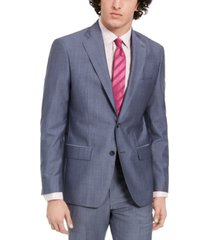 dkny men's slim-fit stretch blue/gray suit jacket