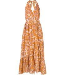 nicholas vestido midi com estampa paisley - laranja