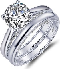 lafonn solitaire simulated diamond wedding ring set, size 8 in silver/white at nordstrom