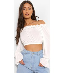 off shoulder top met ruches, white
