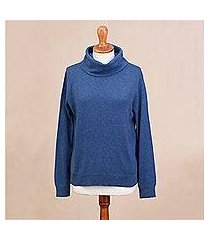 cotton blend pullover, 'royal blue versatility' (peru)
