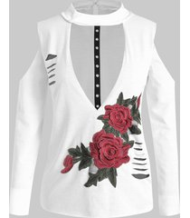 plus size floral embroidered cutout ripped tee
