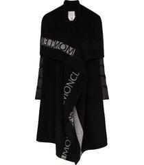 moncler mantella cape front padded coat - black