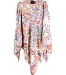 etro blusa poncho mangas longas - rosa