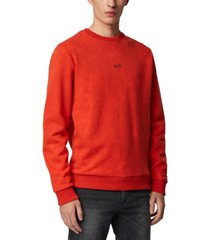 boss men's wash dark orange sweatshirt