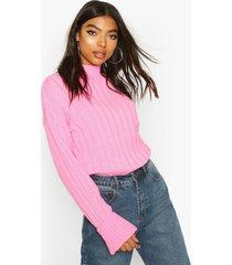 tall wide rib turn up cuff sweater, pink