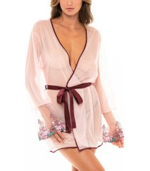 women's mesh robe with multi-colored embroidered trim