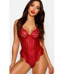 eyelash lace & stripe mesh body, red