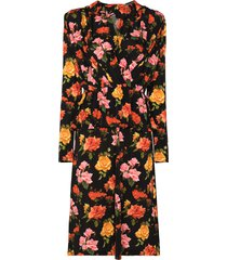 commission draped floral-print midi dress - black