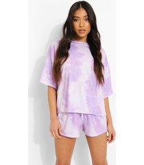 petite tie dye pyjama set met shorts, lilac