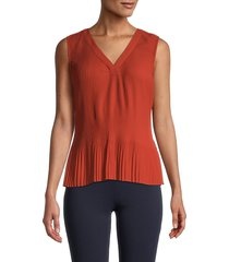 calvin klein women's sleeveless ribbed top - spicy orange - size s