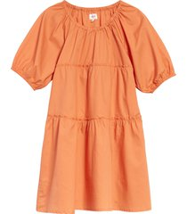 girl's seed heritage kids' balloon sleeve tiered poplin dress, size 4 - orange