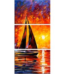 conjunto de telas decorativa pintura barco a vela grande love decor
