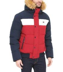 tommy hilfiger men's big & tall short parka jacket with faux fur hood