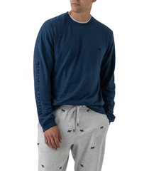 men's rodd & gunn broadford embroidered long sleeve t-shirt, size x-large - blue