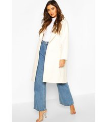 double breasted wool look coat, ivory
