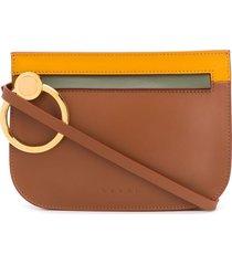 marni ring detail crossbody bag - brown