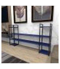 aparador industrial aço cor preto 180x30x98cm (c)x(l)x(a) cor mdf azul modelo ind49azapr