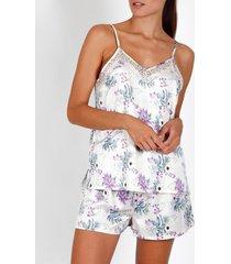 pyjama's / nachthemden admas pyjama kort hemdje romantisch ivoor