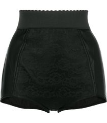 dolce & gabbana lace-panelled satin shorts - black