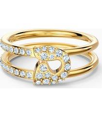 anello so cool pin, bianco, placcato color oro