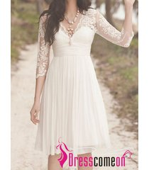 top beautiful a line v neck with sleeves short lace white beach wedding dresses