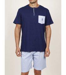 pyjama's / nachthemden admas for men fris en zacht marineblauw admas pyjama-shirt kort t-shirt