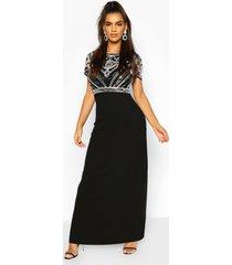boutique versierde maxi bruidsmeisjes jurk met pailletten, zwart