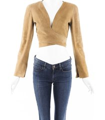 chanel vintage lambskin suede cropped jacket