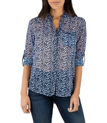 women's kut from the kloth jasmine top, size x-large - blue