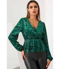 yoins blusa de manga larga con cuello en v de leopardo de terciopelo verde