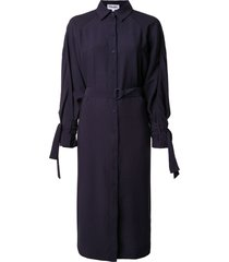 kenzo belted shirt dress with cape detail - blue