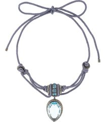 lanvin pre-owned stone drop pendant tied necklace - blue