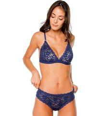 brasier tipo top venecia jessie de la rosa lingerie para mujer - azul