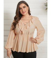 blusa de manga larga con cuello en v y cuello cruzado de yoins plus size