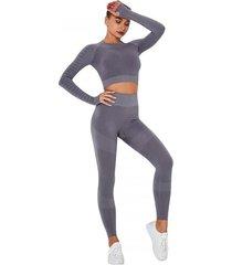strój fitness fun kolor szary legginsy i top