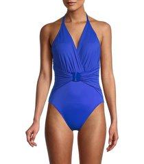 magicsuit women's angelina draped open-back one-piece swimsuit - cobalt blue - size 10
