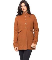 casaco madame estilo militar de lã batida caramelo
