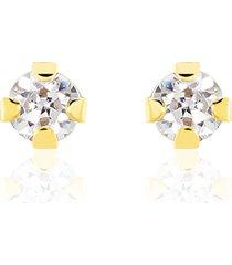orecchini a lobo in oro giallo e zirconi per donna