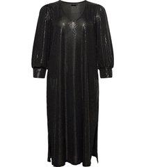 dress glitter plus v neck 3/4 length sleeves knälång klänning svart zizzi