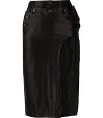 ann demeulemeester cut-out fitted skirt - black