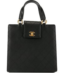 chanel pre-owned 1998 diamond quilted cc turn-lock tote - black