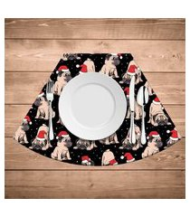 jogo americano para mesa redonda wevans pug natalino kit com 6 pçs