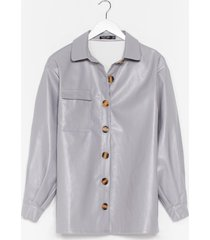 womens go with the faux leather relaxed shirt - grey