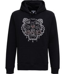 kenzo black cotton hoodie with tiger logo