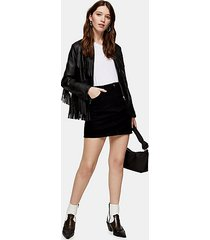 black denim mini skirt - black