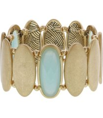 the sak gold-tone faceted mint stone detail stretch bracelet