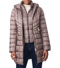 women's bernardo packable hooded primaloft fill coat with contrast inset bib, size xx-large - metallic (online only)