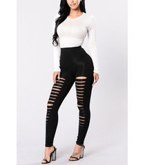 detalles rasgados al azar negros de cintura alta pantalones