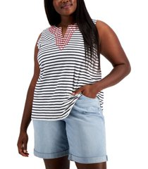 tommy hilfiger plus size embroidered star tank top